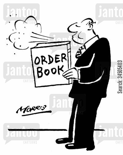 order books cartoon humor: Blowing dust off an order book.