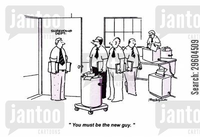 catches cartoon humor: 'You must be the new guy.'