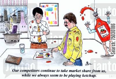 tomatoes cartoon humor: 'Our competitors continue to take market share from us, while we always seem to be playing ketchup.'