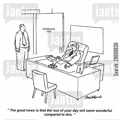 optimism cartoon humor: 'The good news is that the rest of your day will seem wonderful compared to this.'
