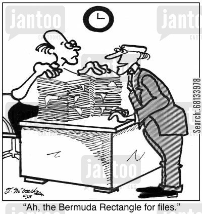 bermuda triangle cartoon humor: 'Ah, the Bermuda Rectangle for files.'