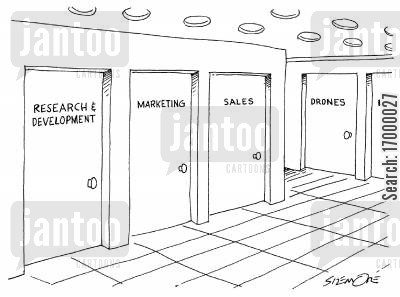 drones cartoon humor: Office doors for Marketing, Sales, and Drones.