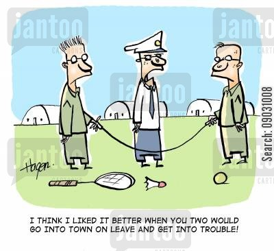 badminton cartoon humor: 'I think I liked it better when you two would go into town on leave and get into trouble.'