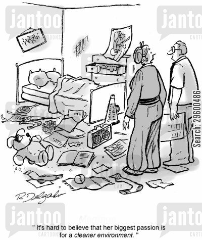 Cleaning Messy Room messy room cartoons - humor from jantoo cartoons