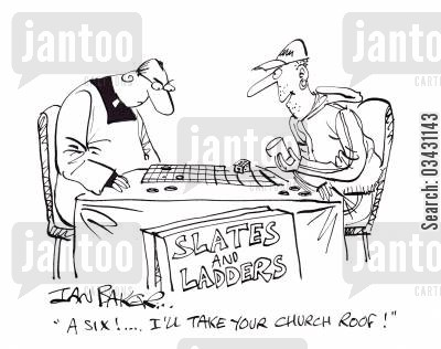 slates cartoon humor: 'A six!...I'll take your church roof!'