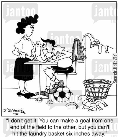 dirty washing cartoon humor: I don't get it. You can make a goal from one end of the field to the other, but you can't hit the laundry basket six inches away.