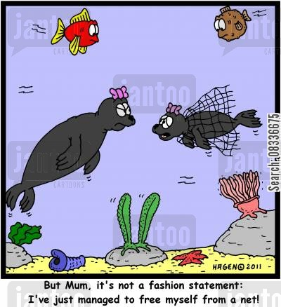 fishes cartoon humor: 'But Mum, it's not a fashion statement: I've just managed to free myself from a net!'