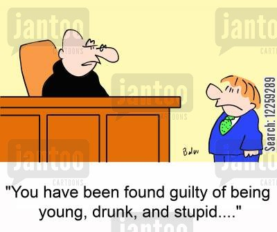 driving drunk cartoon humor: You have been found guilty of being young, drunk and stupid...