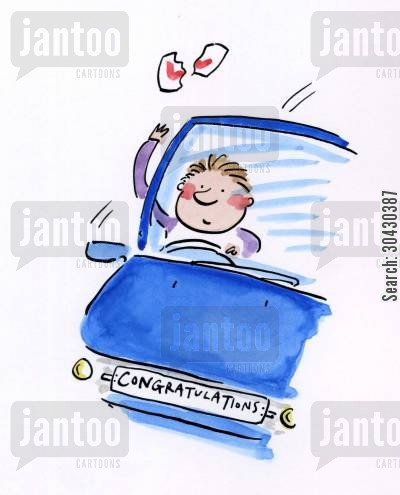 car cartoon humor: Congratulations on Passing Your Driving Test.