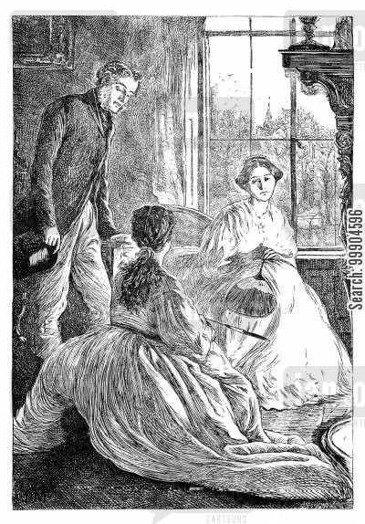 elizabeth gaskell cartoon humor: Illustration for 'Wives and Daughters', scene 4.
