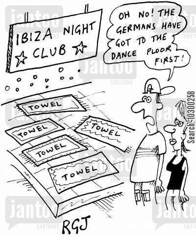 germans cartoon humor: 'Ibiza night club' Oh no! The Germans have got to the dance floor first!