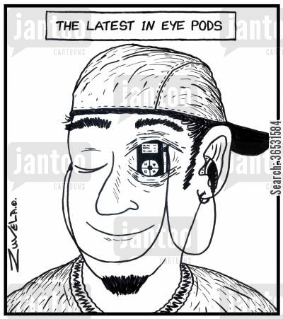 adolescents cartoon humor: The latest in eye pods.