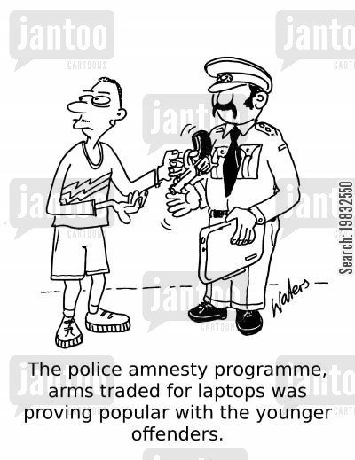 offenders cartoon humor: The police amnesty programme, arms traded for laptops was proving popular with the younger offenders.
