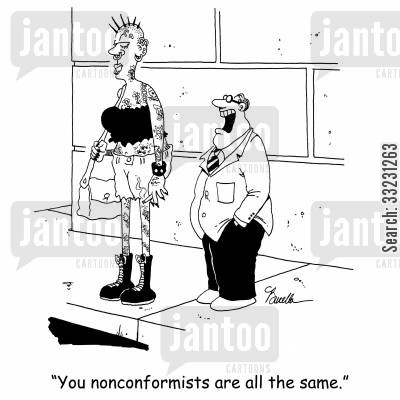 nose ring cartoon humor: 'You nonconformists are all the same.'