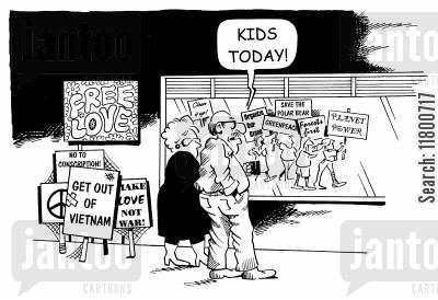 single issue cartoon humor: Kids today!