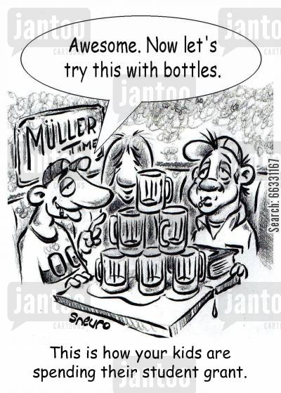 spending money cartoon humor: Awesome. Now let's try this with bottles.