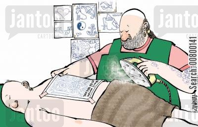 tattooists cartoon humor: Tattooist ironing on a design.