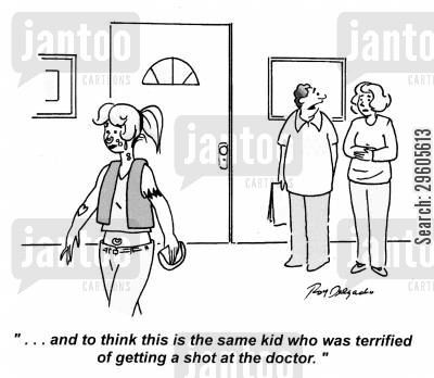 needles cartoon humor: '... and to think this is the same kid who was terrified of getting a shot at the doctor.'