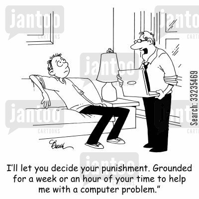 troubleshooting cartoon humor: 'I'll let you decide your punishment. Grounded for a week or an hour of your time to help me with a computer problem.'