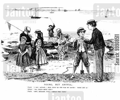 at the beach cartoon humor: Young man at the beach asking friend to kiss his sister hoping he can then kiss friends sister