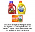 Save $1.00 on one Tide Simply Detergent 37oz or higher, Era detergent 40oz or higher, Downy Fabric Enhancer or Bounce Sheets