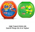 Save $3.00 on ONE Tide® Pods or Gain® Flings 32 ct or higher