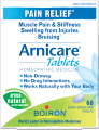 "Save $3.00 on Arnicare® Tablets from Boiron® for muscle pain, bruising and swelling. Made from this natural active ingredient, Arnicare Tablets provide widespread pain relief for the whole body and may be combined with Arnicare Gel, Cream or Ointment.* These ""Uses"" have not been evaluated by the Food and Drug Administration."