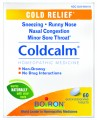 "Save $3.00 on any Boiron® Coldcalm® Tablets. Coldcalm addresses symptoms at every stage of a cold. It temporarily relieves symptoms such as sneezing, runny nose, nasal congestion and minor sore throat.* Coldcalm does not cause drowsiness and it has no known interactions with other medications. Recommended for everyone ages 3 and up, Coldcalm is available in a box of 60 quick-dissolving tablets. Children's Coldcalm is also available as sweet-tasting pellets.  *These ""Uses"" have not been evaluated by the Food and Drug Administration."