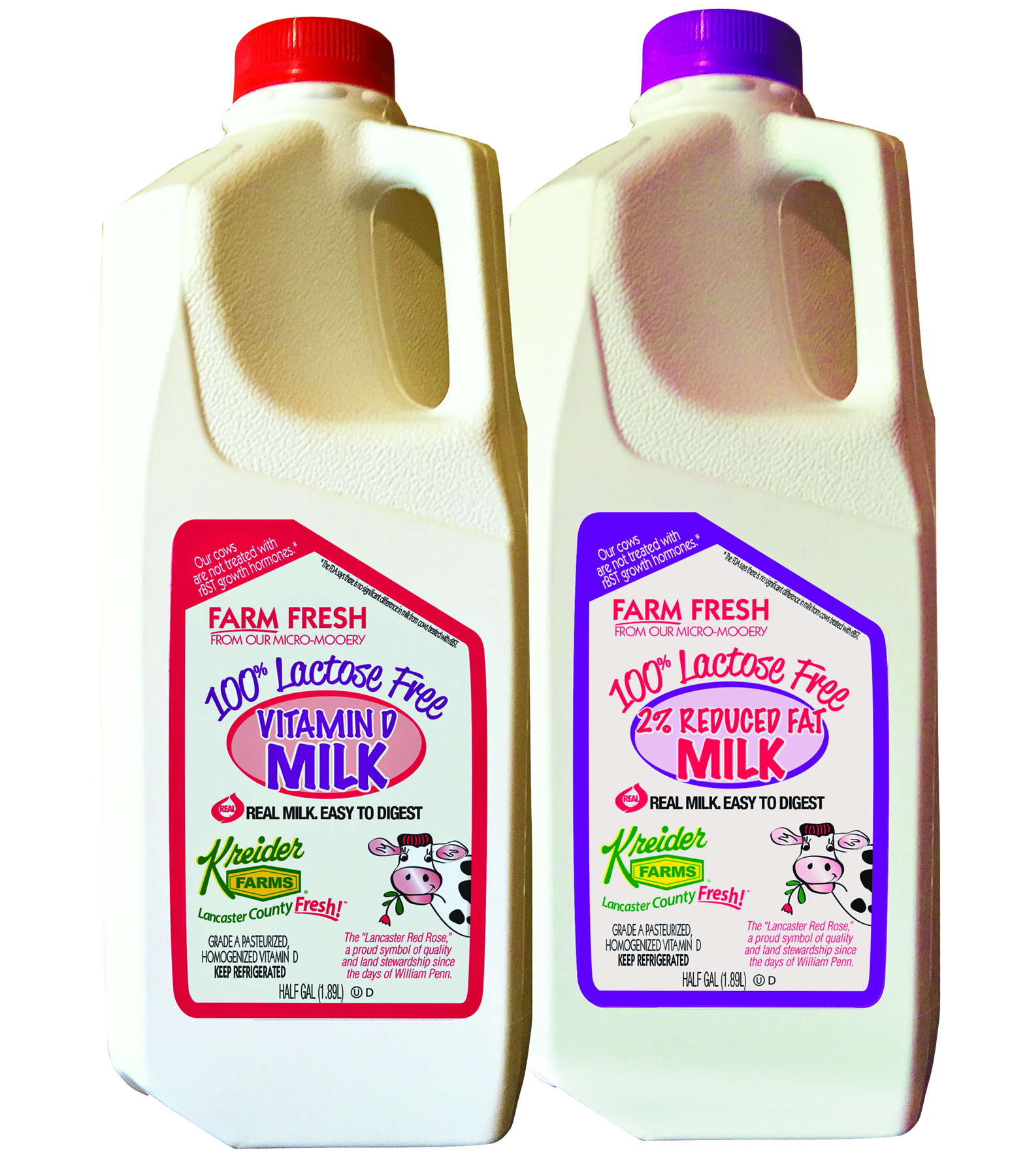 Save $0.50 on any half gallon of Kreider's Lactose Free Milk