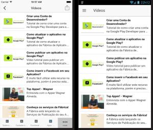 Lista de vídeos do YouTube do App no iOS e Android, respectivamente