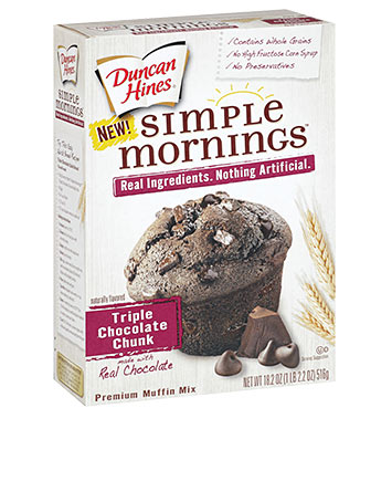 Simple Mornings Triple Chocolate Chunk Muffin Mix | Duncan Hines®
