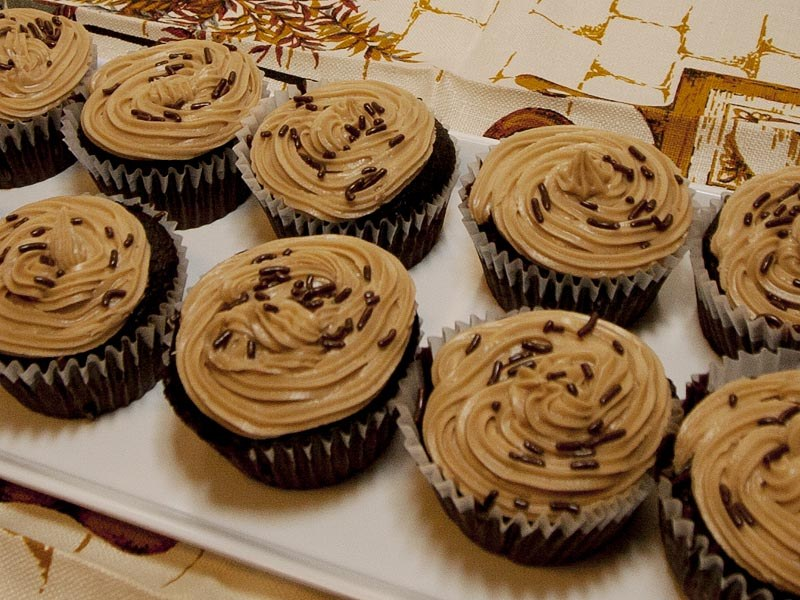 Chocolate Fudge Cupcakes with Penuche Frosting