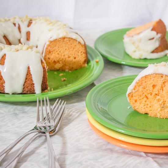 Tropical Supreme Cake with Rum Cream Cheese Glaze