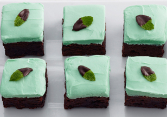 Mint Chocolate Brownie Squares