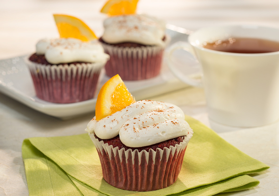 Orange Chai Red Velvet Cupcakes with Marshmallow Crème