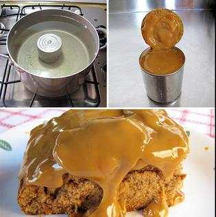 Simple dulce de leche using a can of sweetened condensed milk
