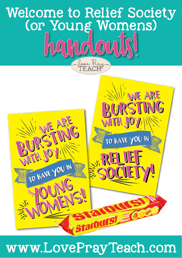 Free printable to handout to welcome Young Women into Relief Society and to welcome incoming Beehive into Young Womens! www.LovePrayTeach.com