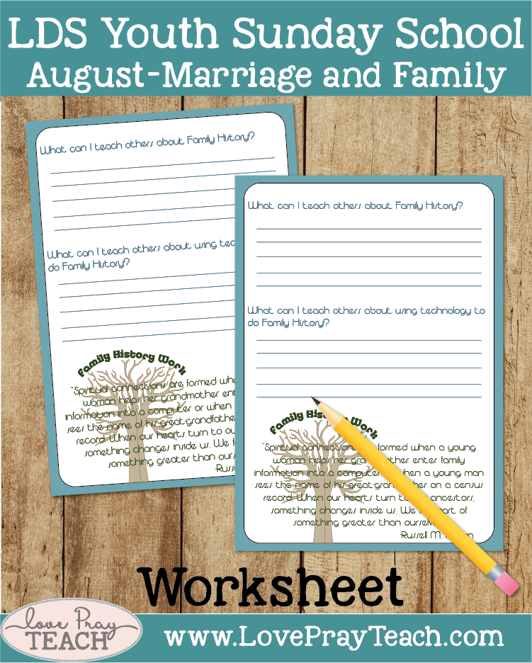 Individual Lesson helps packet for Come Follow Me, August Youth Sunday School: How can I teach others how to do family history work?