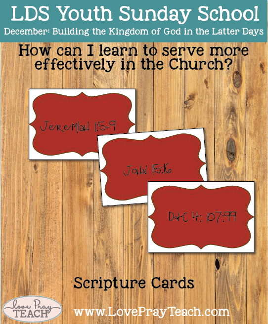 December Youth Sunday School: How can I learn to serve more effectively in the Church?