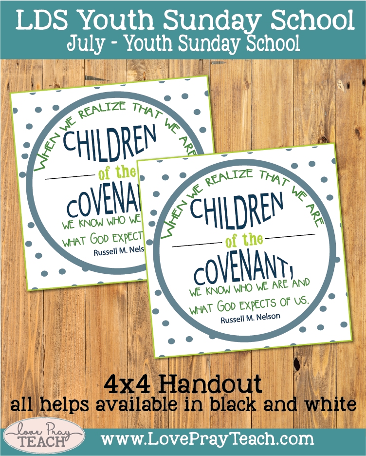 lesson helps packet for Come follow MeJuly YSS: How can I deepen my understanding of covenants?