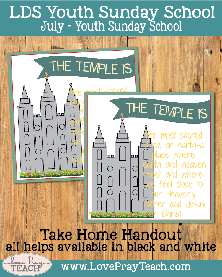 Individual lesson helps packet for Come Follow Me, July Youth Sunday School:How can I prepare to receive temple ordinances?