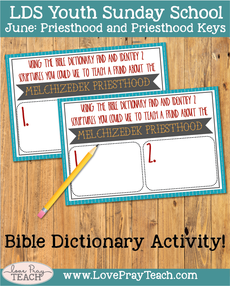 Individual Lesson helps packet for Come Follow Me Youth Sunday school. June:How can using scripture study skills help me learn more about the priesthood?