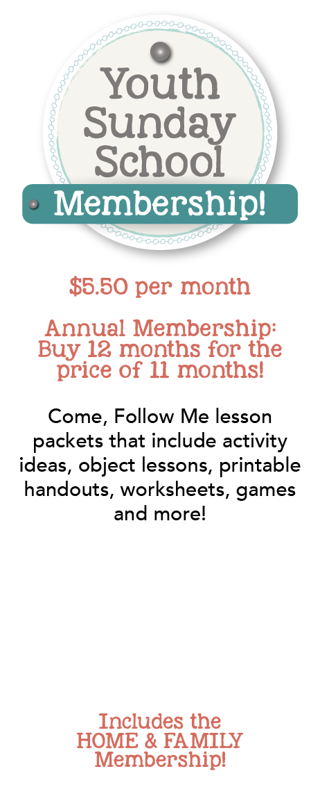 Youth Sunday School membership includes lesson helps for the Come, Follow Me lessons including object lessons, game ideas, activity ideas, handouts, worksheets and more! www.LovePrayTeach.com