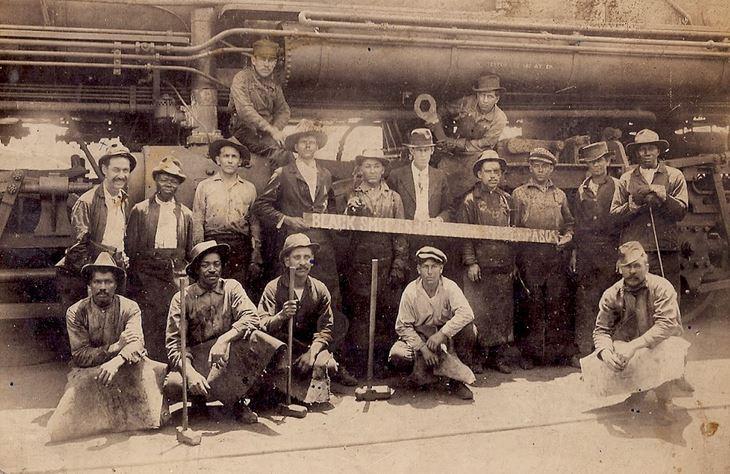 My great-grandfather José Galindo (standing, far left) in a 1913 photo taken near El Paso, Texas)