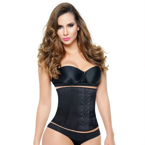 Ann Michell Latex Short Torso Waist Cincher Black Front