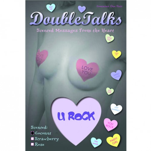 Bring It Up DoubleTalks U ROCK Heart Shaped Scented Nipple Covers