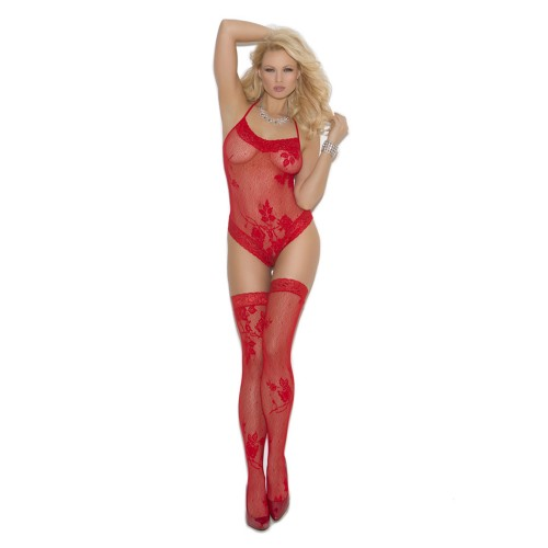Elegant Moments Set Lace Halter Teddy and Thigh High Stockings Red Front