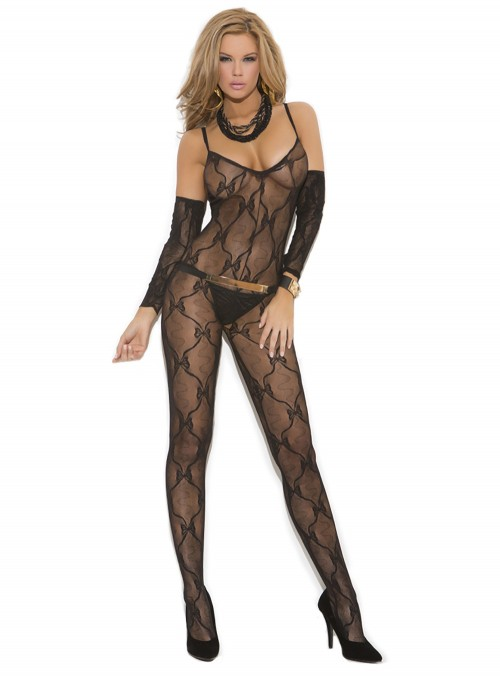 Elegant Moments Plus Size Bow Tie Lace Sleeve Bodystocking