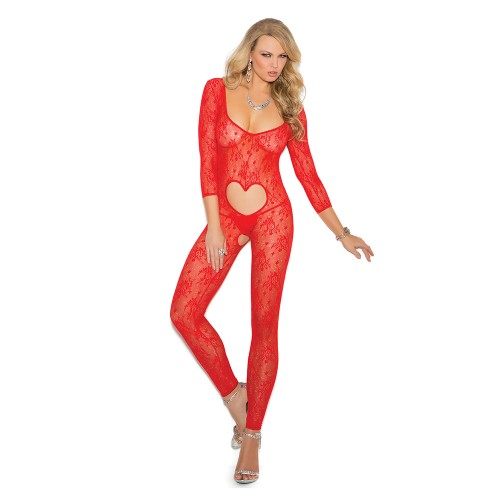 Elegant Moments Long Sleeve Footless Lace Bodystocking Front