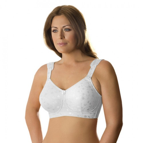 Elila Jacquard Soft Cup Bra with Cushioned Straps White